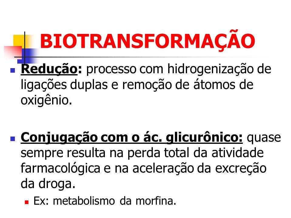 BIOTRANSFORMAÇÃO Redução: processo com hidrogenização de ligações duplas e remoção de átomos de oxigênio.