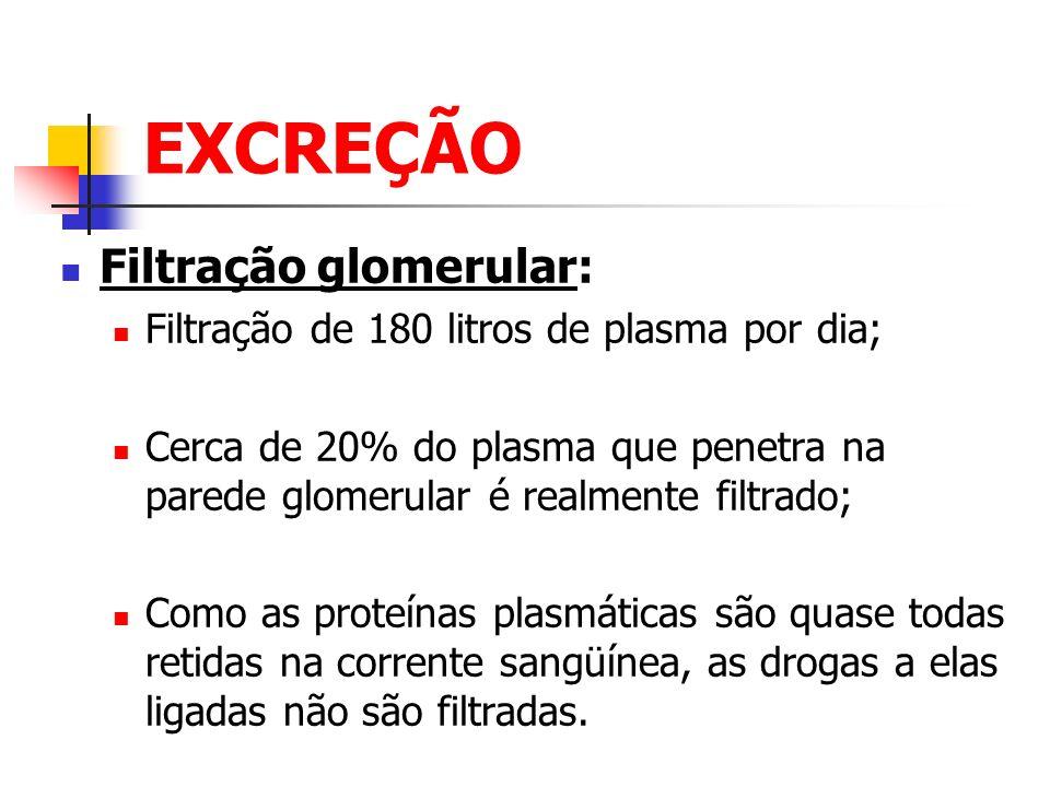 EXCREÇÃO Filtração glomerular:
