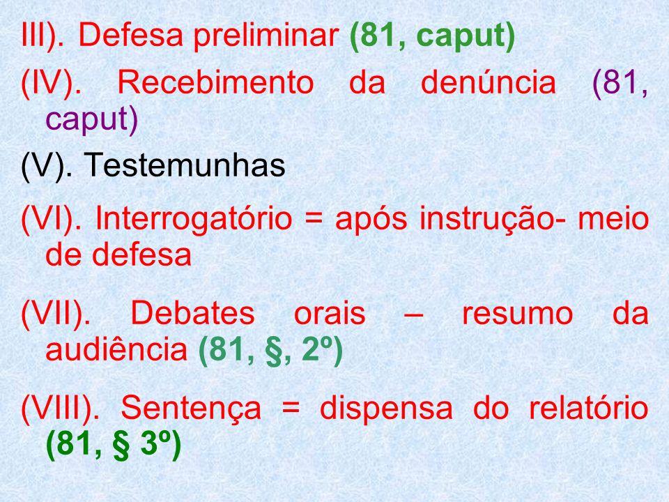 III). Defesa preliminar (81, caput)