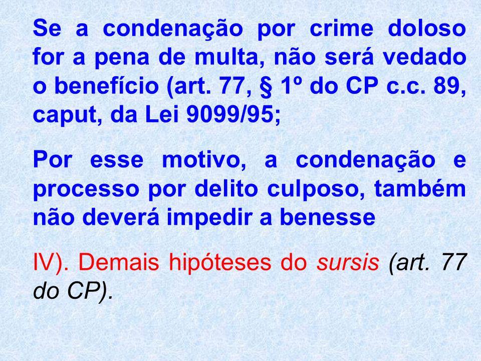 Se a condenação por crime doloso for a pena de multa, não será vedado o benefício (art. 77, § 1º do CP c.c. 89, caput, da Lei 9099/95;