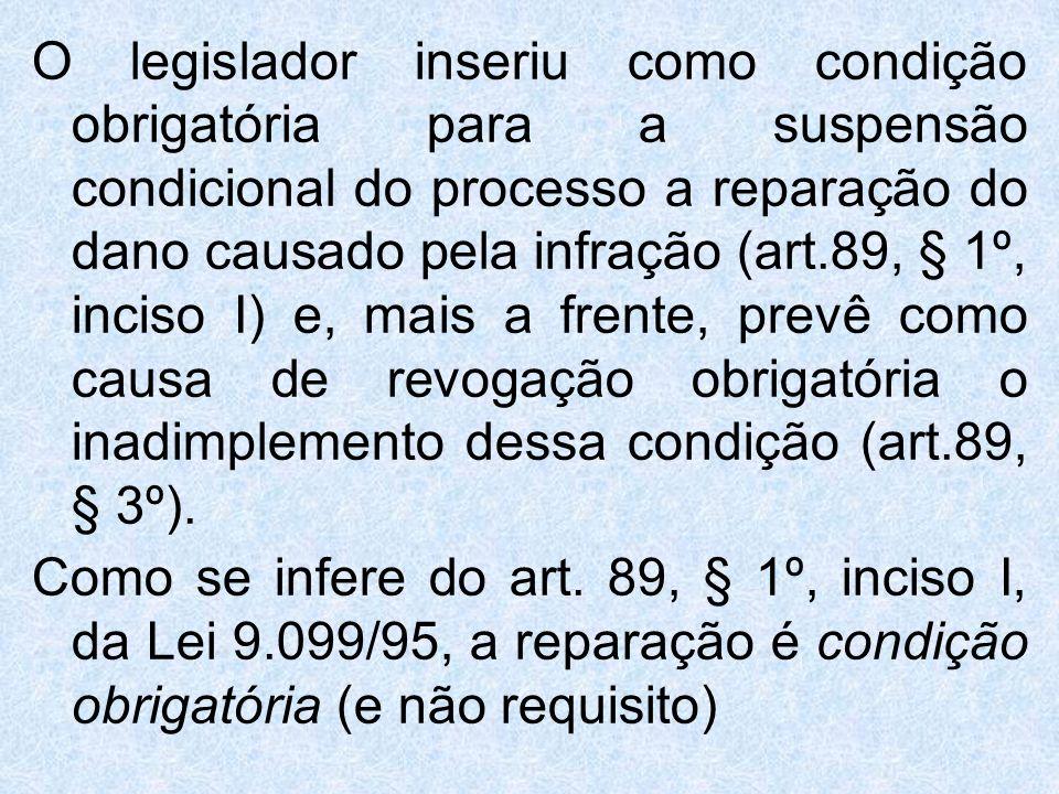 O legislador inseriu como condição obrigatória para a suspensão condicional do processo a reparação do dano causado pela infração (art.89, § 1º, inciso I) e, mais a frente, prevê como causa de revogação obrigatória o inadimplemento dessa condição (art.89, § 3º).