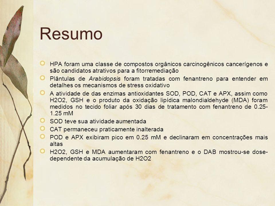 ResumoHPA foram uma classe de compostos orgânicos carcinogênicos cancerígenos e são candidatos atrativos para a fitorremediação.