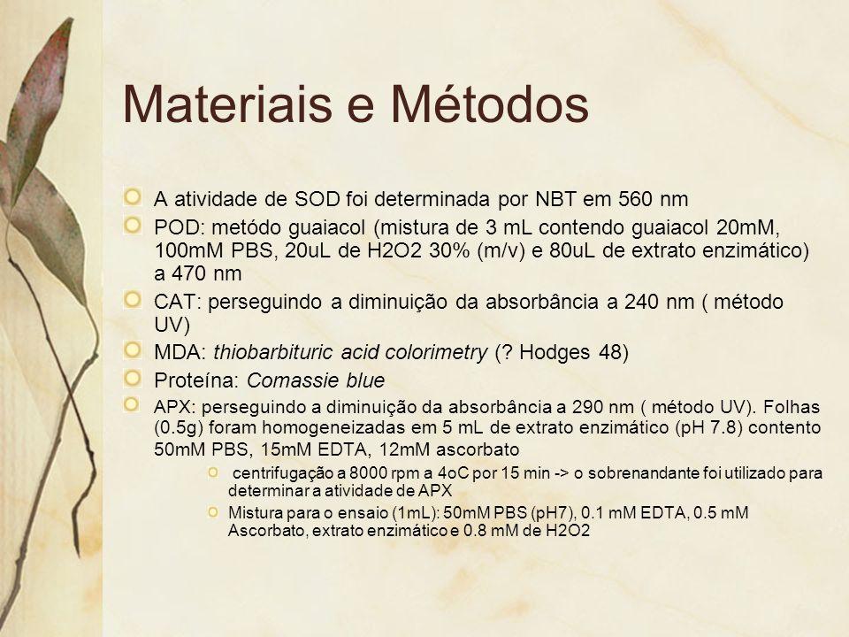 Materiais e Métodos A atividade de SOD foi determinada por NBT em 560 nm.