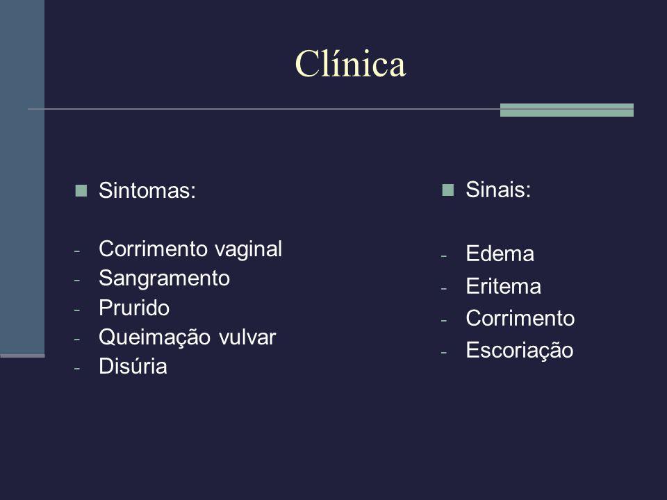 Clínica Sinais: Sintomas: Edema Corrimento vaginal Sangramento Eritema