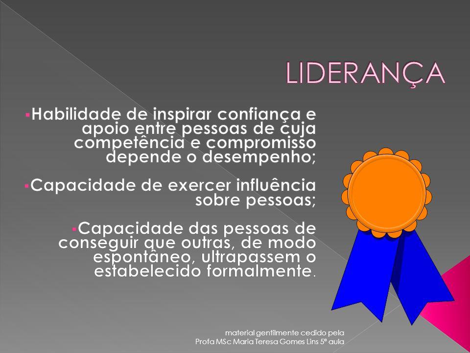 LIDERANÇA Habilidade de inspirar confiança e apoio entre pessoas de cuja competência e compromisso depende o desempenho;