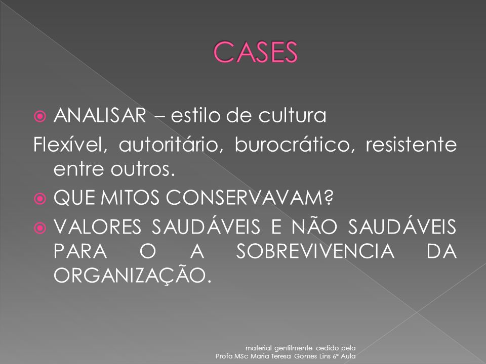 CASES ANALISAR – estilo de cultura