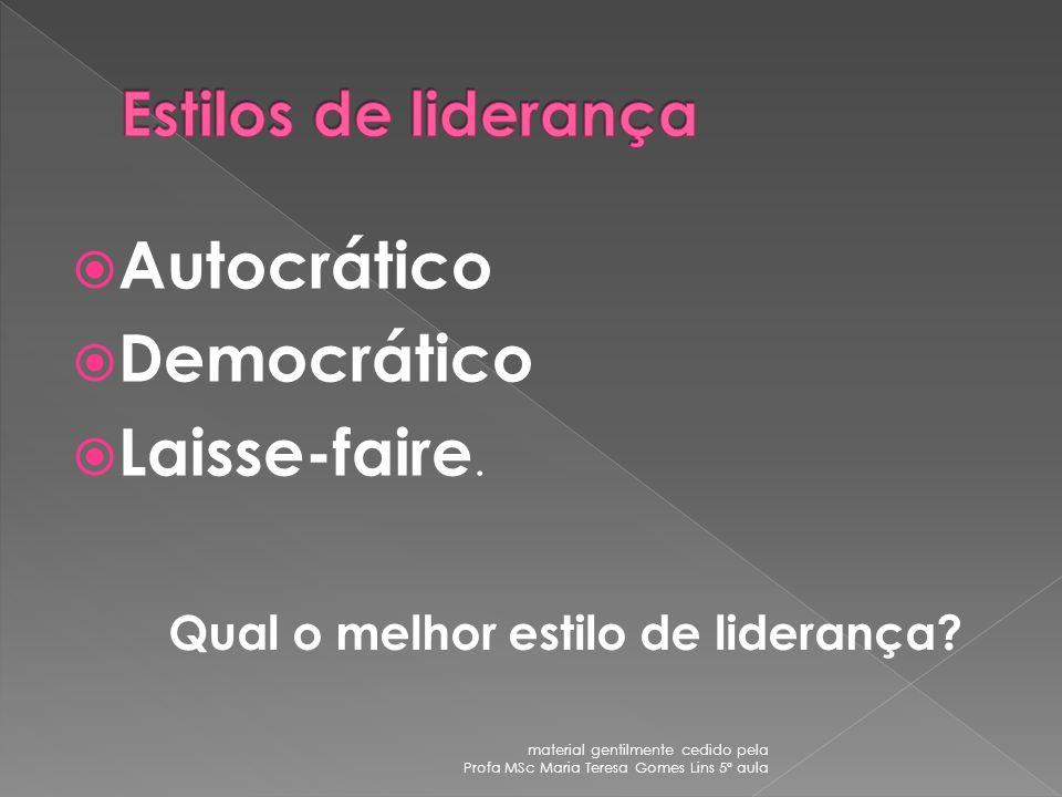 Autocrático Democrático Laisse-faire. Estilos de liderança
