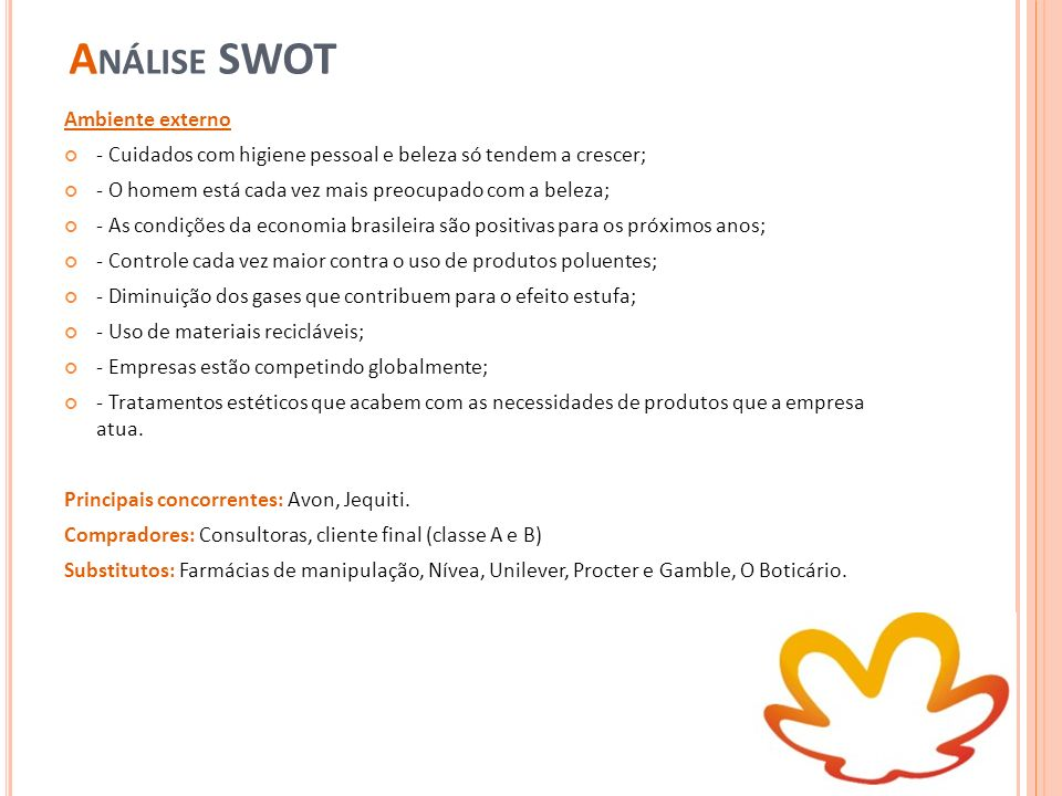 Análise SWOT Ambiente externo