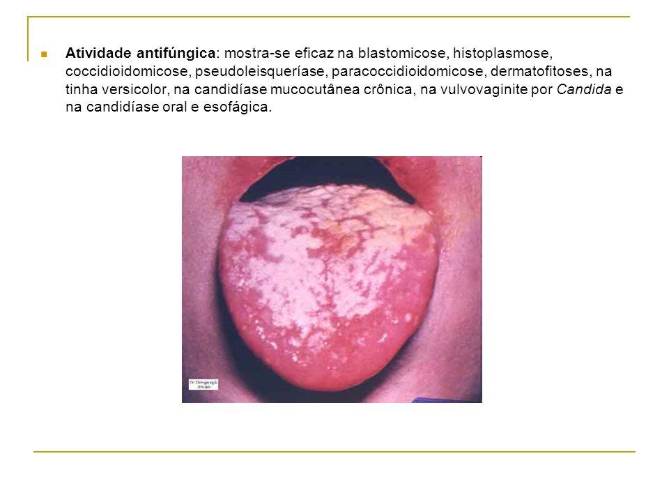 Atividade antifúngica: mostra-se eficaz na blastomicose, histoplasmose, coccidioidomicose, pseudoleisqueríase, paracoccidioidomicose, dermatofitoses, na tinha versicolor, na candidíase mucocutânea crônica, na vulvovaginite por Candida e na candidíase oral e esofágica.