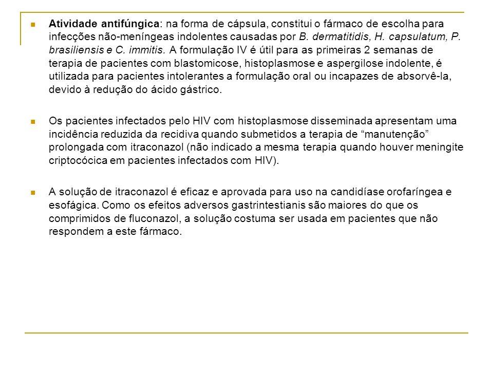 Atividade antifúngica: na forma de cápsula, constitui o fármaco de escolha para infecções não-meníngeas indolentes causadas por B. dermatitidis, H. capsulatum, P. brasiliensis e C. immitis. A formulação IV é útil para as primeiras 2 semanas de terapia de pacientes com blastomicose, histoplasmose e aspergilose indolente, é utilizada para pacientes intolerantes a formulação oral ou incapazes de absorvê-la, devido à redução do ácido gástrico.