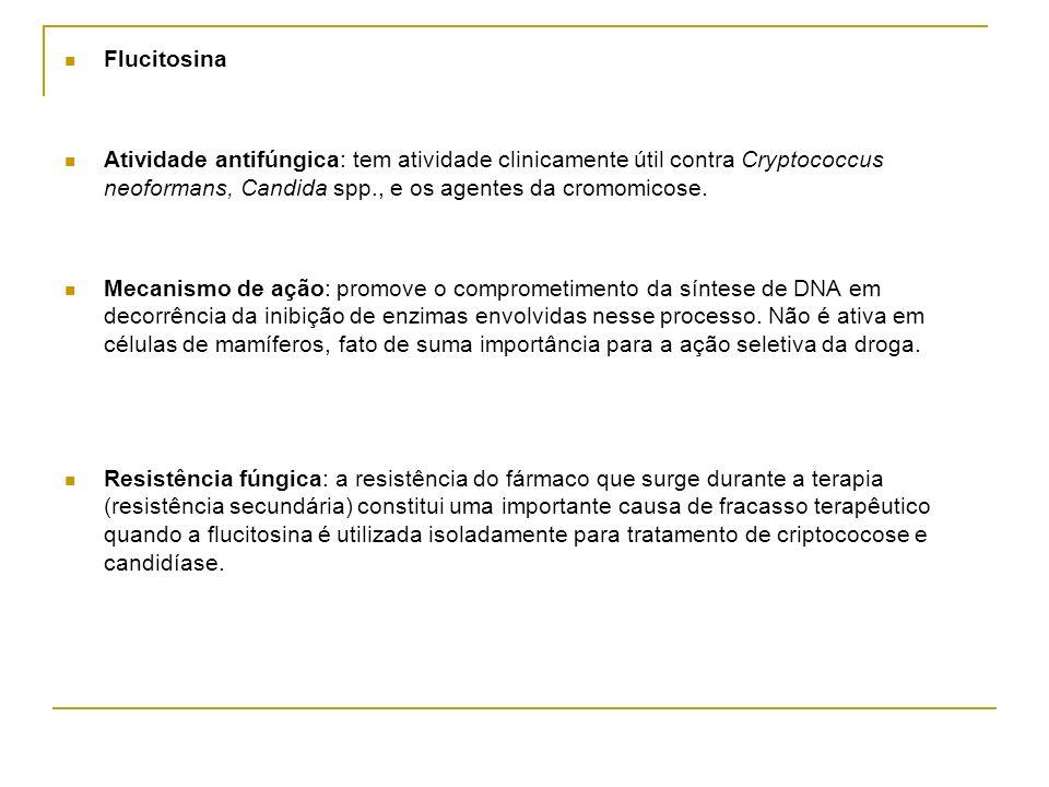 Flucitosina Atividade antifúngica: tem atividade clinicamente útil contra Cryptococcus neoformans, Candida spp., e os agentes da cromomicose.