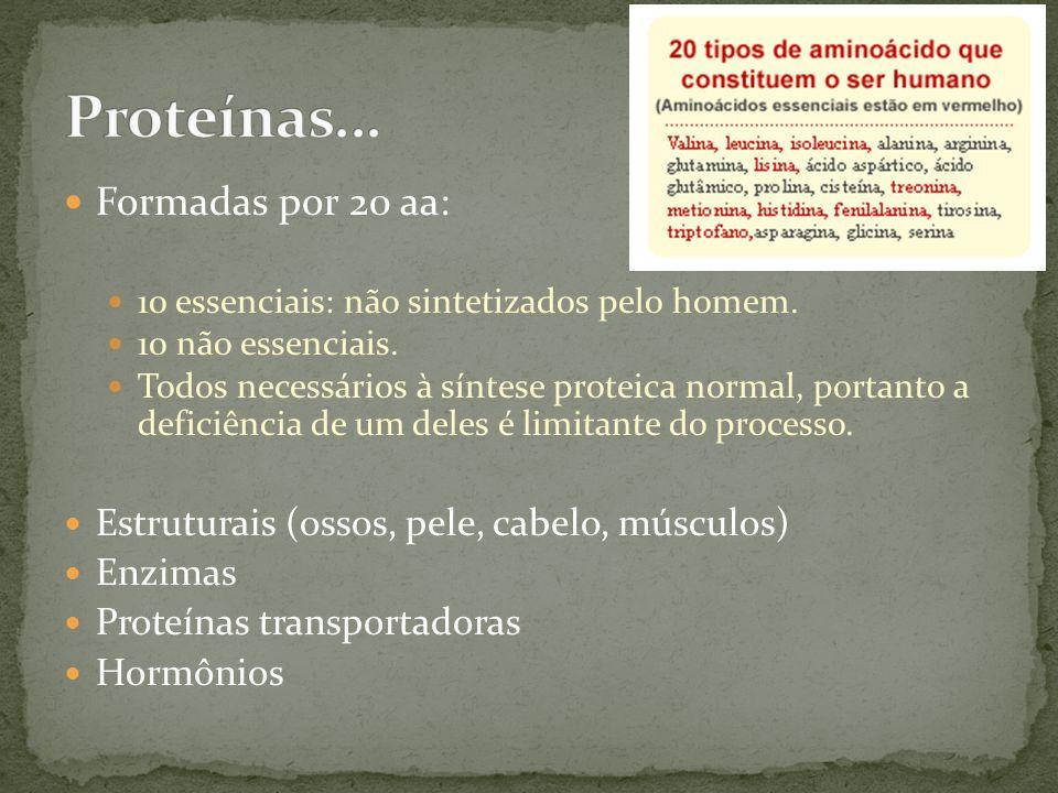 Proteínas... Formadas por 20 aa: