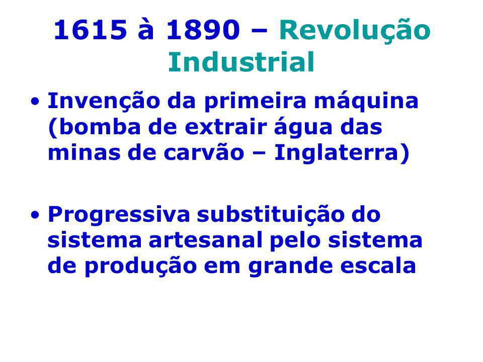 1615 à 1890 – Revolução Industrial