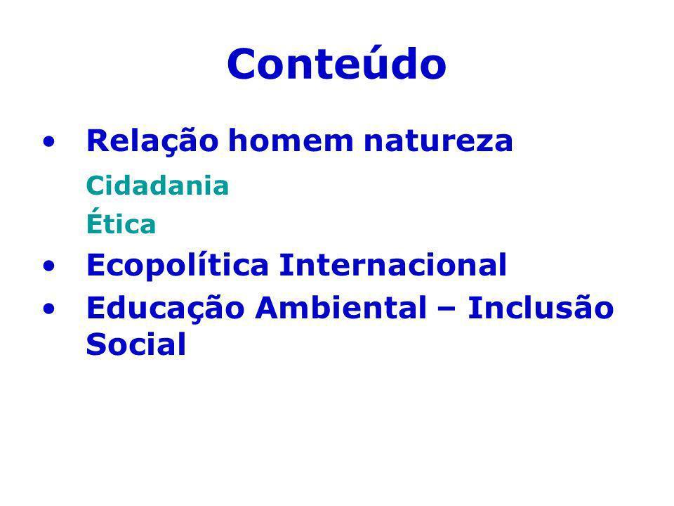 Conteúdo Relação homem natureza Cidadania Ecopolítica Internacional