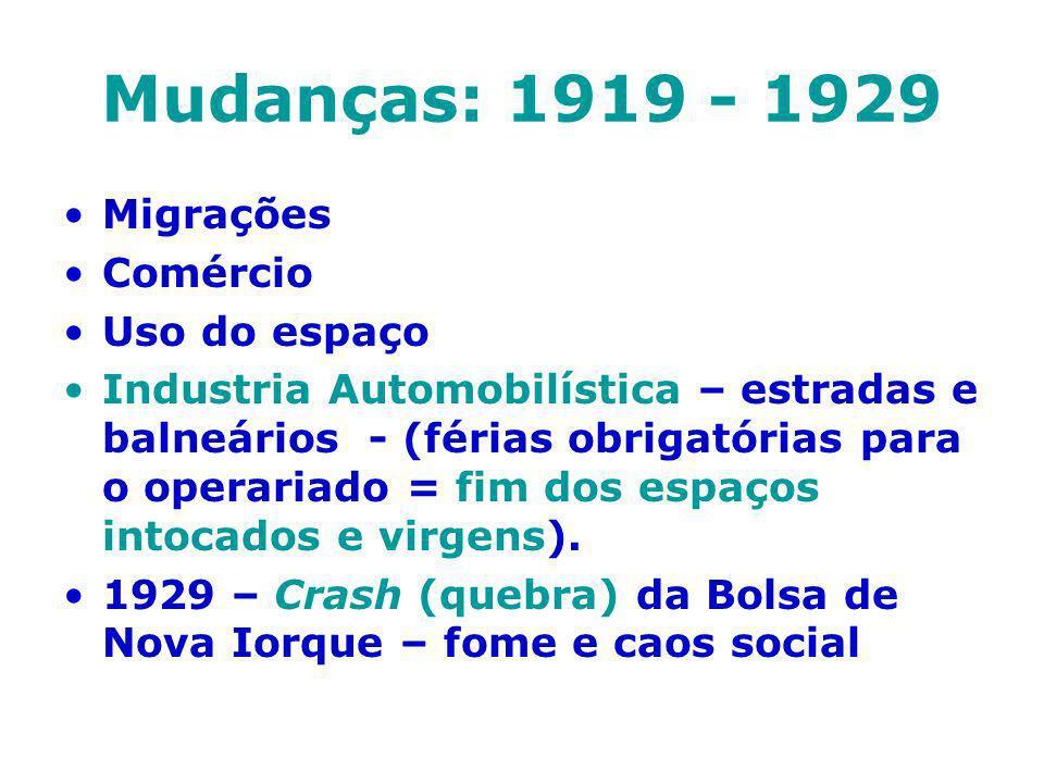 Mudanças: 1919 - 1929 Migrações Comércio Uso do espaço
