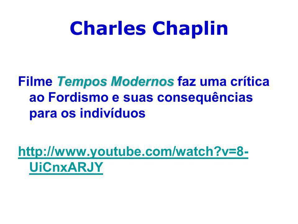 Charles ChaplinFilme Tempos Modernos faz uma crítica ao Fordismo e suas consequências para os indivíduos.