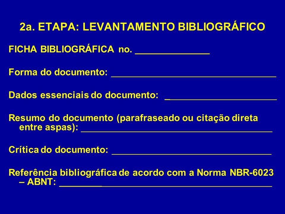 2a. ETAPA: LEVANTAMENTO BIBLIOGRÁFICO