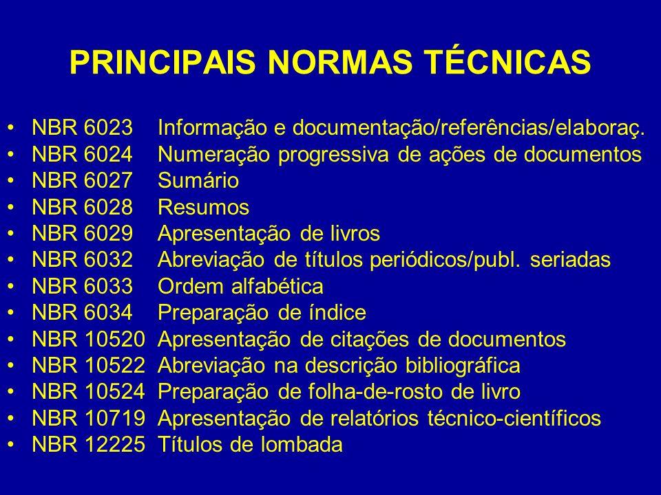 PRINCIPAIS NORMAS TÉCNICAS