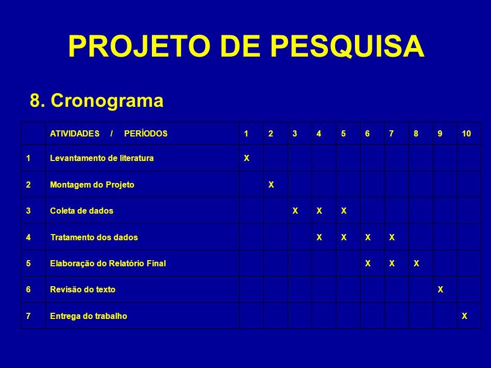 PROJETO DE PESQUISA 8. Cronograma ATIVIDADES / PERÍODOS 1 2 3 4 5 6 7