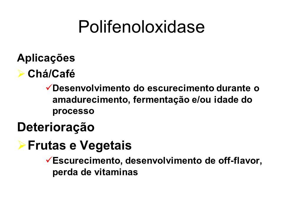 Polifenoloxidase Deterioração Frutas e Vegetais Aplicações Chá/Café