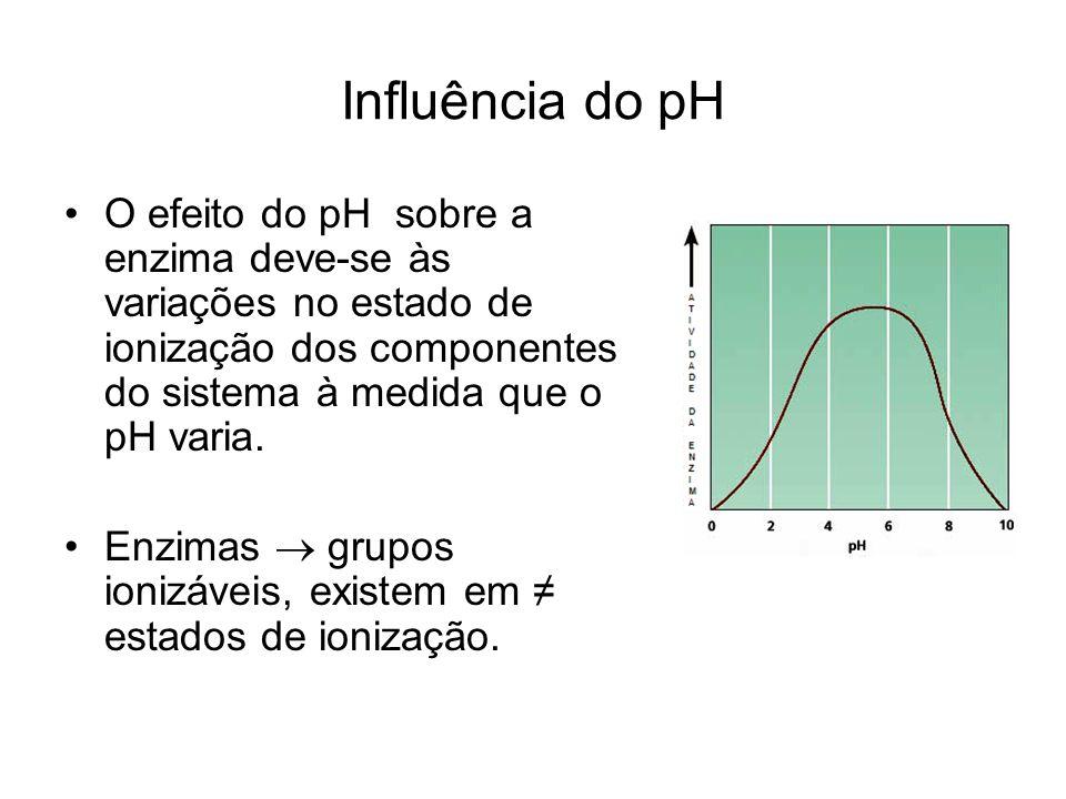 Influência do pH O efeito do pH sobre a enzima deve-se às variações no estado de ionização dos componentes do sistema à medida que o pH varia.