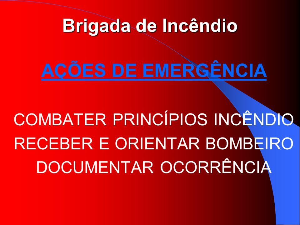 AÇÕES DE EMERGÊNCIA COMBATER PRINCÍPIOS INCÊNDIO