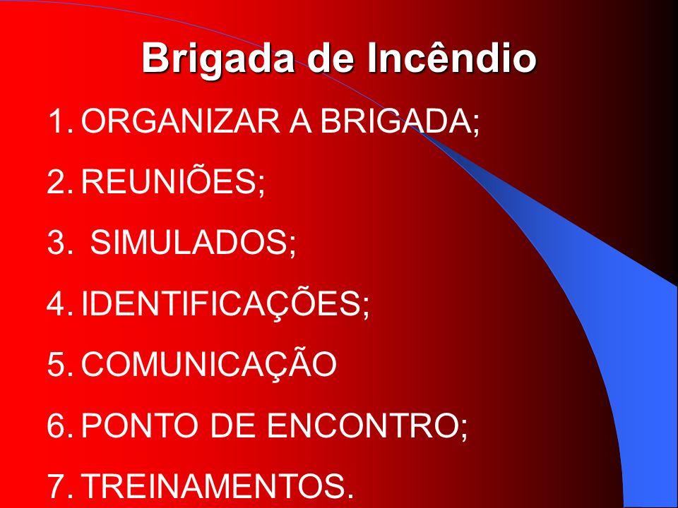 ORGANIZAR A BRIGADA; REUNIÕES; SIMULADOS; IDENTIFICAÇÕES; COMUNICAÇÃO.