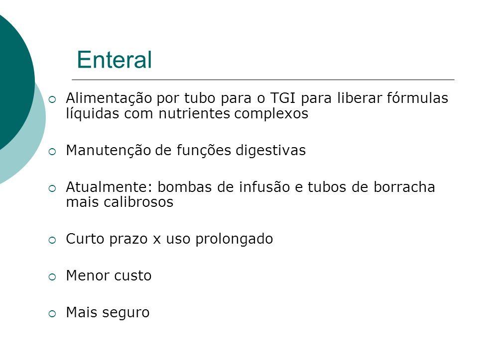 EnteralAlimentação por tubo para o TGI para liberar fórmulas líquidas com nutrientes complexos. Manutenção de funções digestivas.