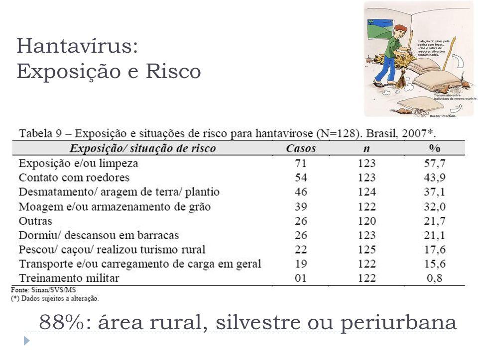 Hantavírus: Exposição e Risco 88%: área rural, silvestre ou periurbana