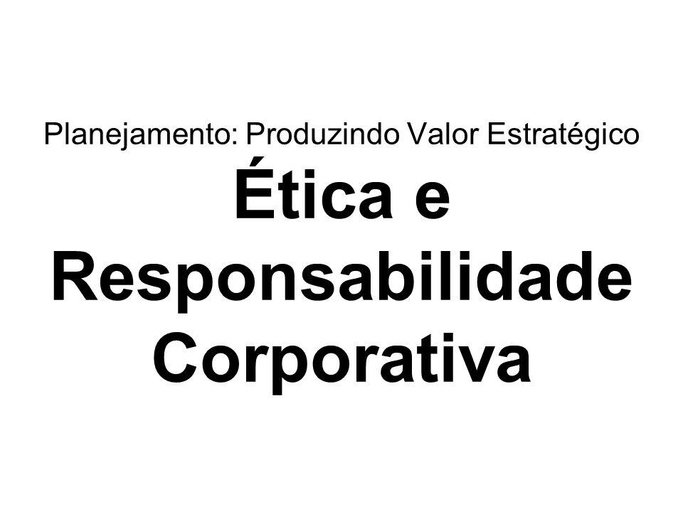 Planejamento: Produzindo Valor Estratégico Ética e Responsabilidade Corporativa