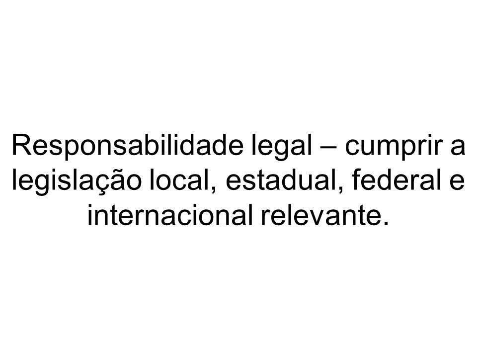 Responsabilidade legal – cumprir a legislação local, estadual, federal e internacional relevante.