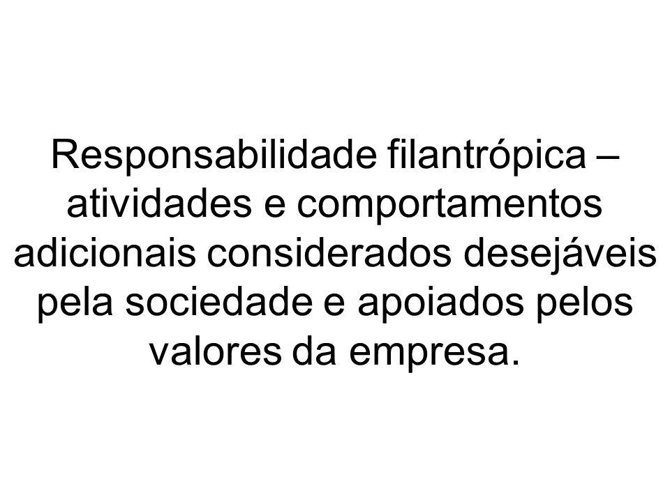 Responsabilidade filantrópica – atividades e comportamentos adicionais considerados desejáveis pela sociedade e apoiados pelos valores da empresa.
