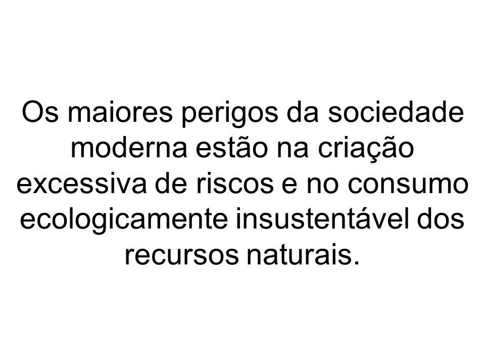 Os maiores perigos da sociedade moderna estão na criação excessiva de riscos e no consumo ecologicamente insustentável dos recursos naturais.