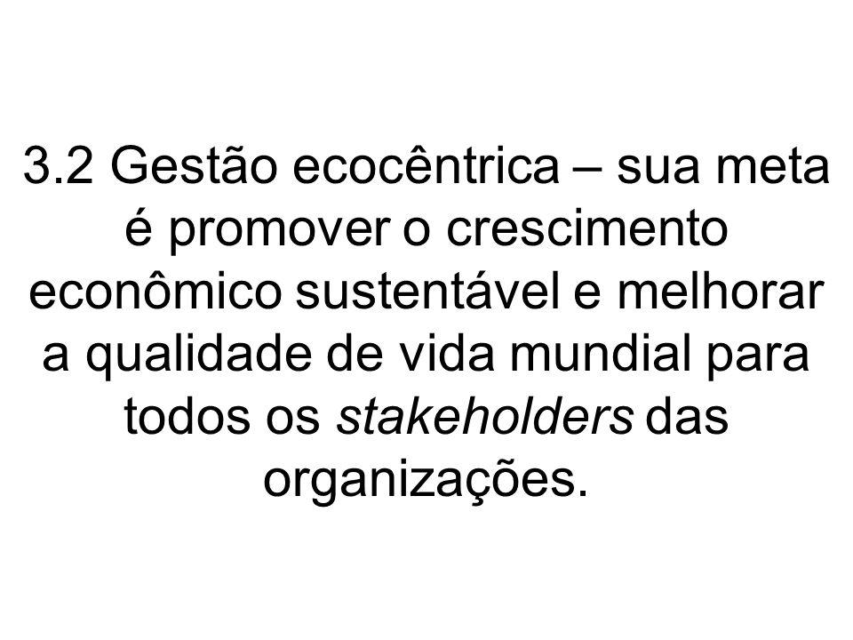 3.2 Gestão ecocêntrica – sua meta é promover o crescimento econômico sustentável e melhorar a qualidade de vida mundial para todos os stakeholders das organizações.