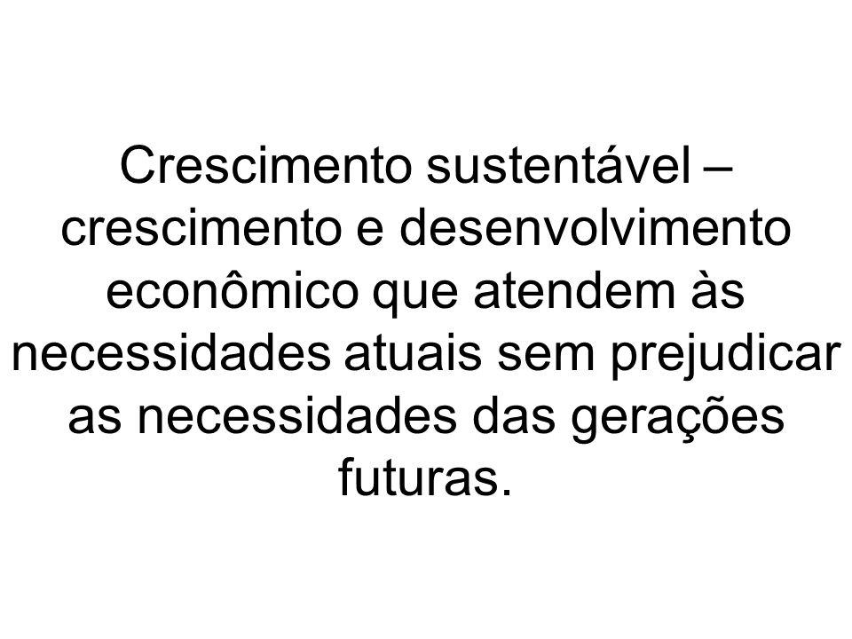 Crescimento sustentável – crescimento e desenvolvimento econômico que atendem às necessidades atuais sem prejudicar as necessidades das gerações futuras.