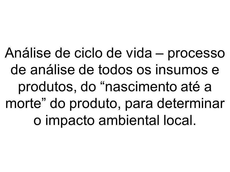 Análise de ciclo de vida – processo de análise de todos os insumos e produtos, do nascimento até a morte do produto, para determinar o impacto ambiental local.