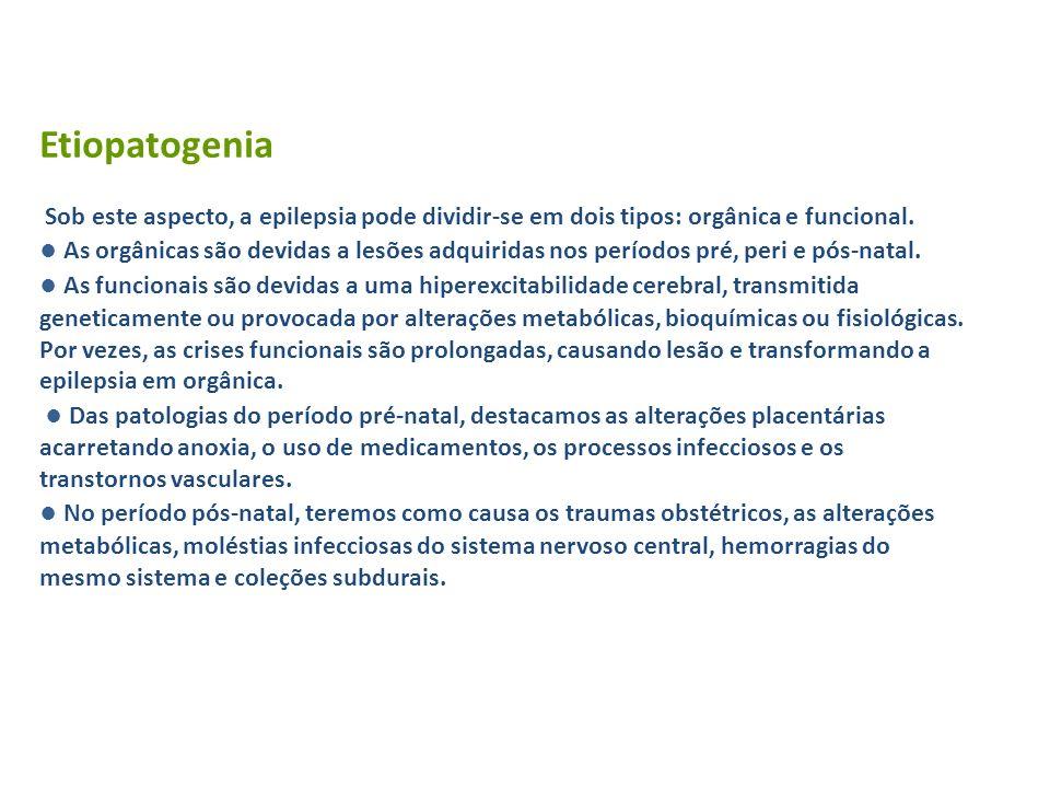 Etiopatogenia Sob este aspecto, a epilepsia pode dividir-se em dois tipos: orgânica e funcional.