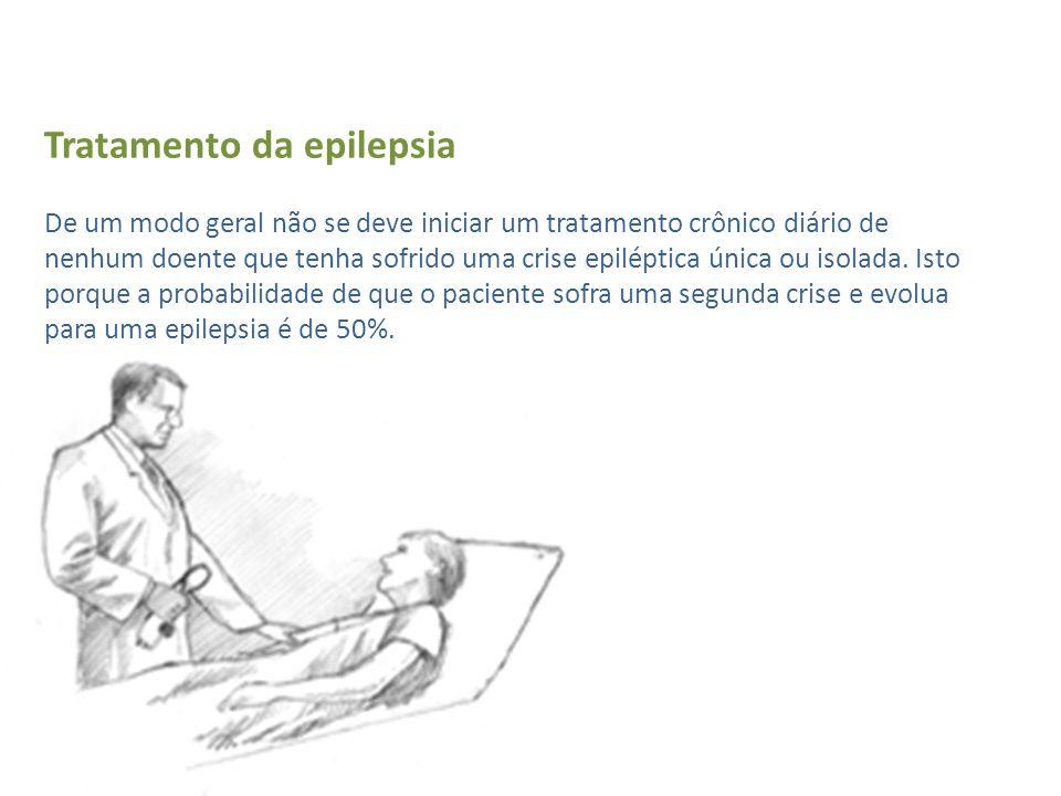 Tratamento da epilepsia De um modo geral não se deve iniciar um tratamento crônico diário de nenhum doente que tenha sofrido uma crise epiléptica única ou isolada.