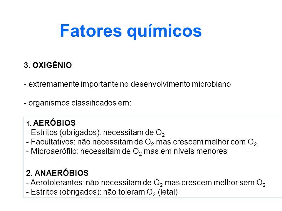 Fatores químicos 3. OXIGÊNIO - extremamente importante no desenvolvimento microbiano - organismos classificados em: