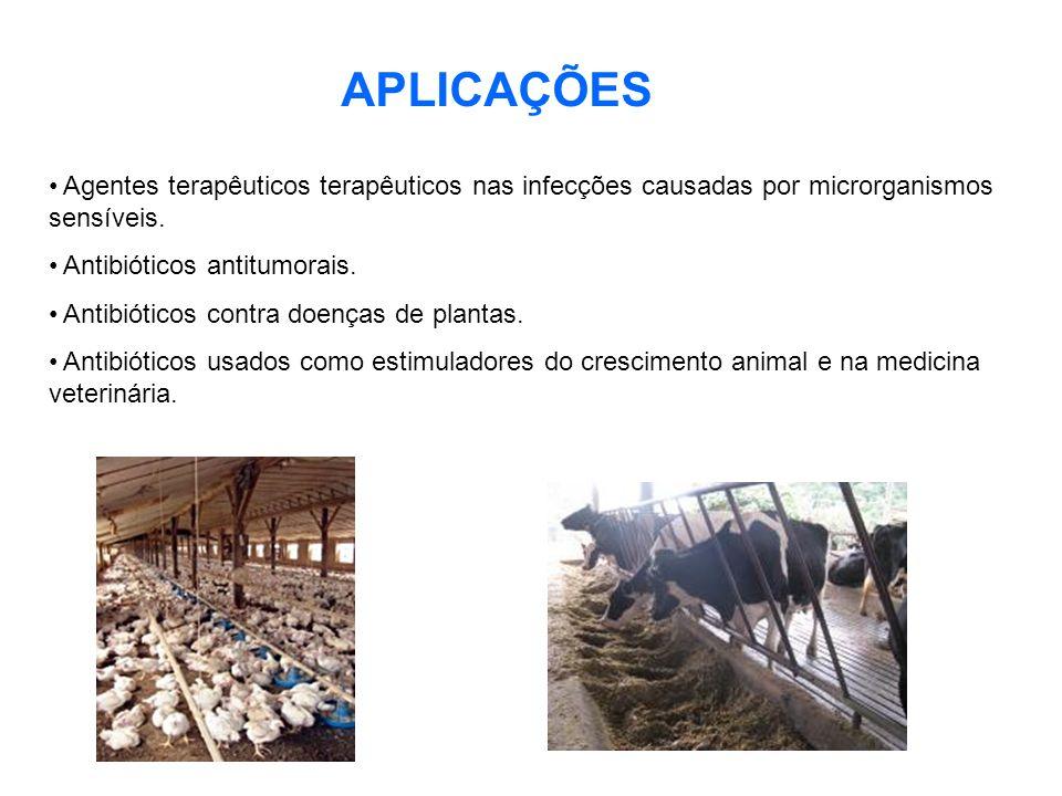 APLICAÇÕES Agentes terapêuticos terapêuticos nas infecções causadas por microrganismos sensíveis. Antibióticos antitumorais.