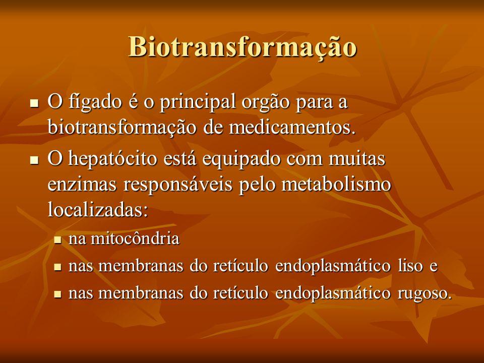 Biotransformação O fígado é o principal orgão para a biotransformação de medicamentos.