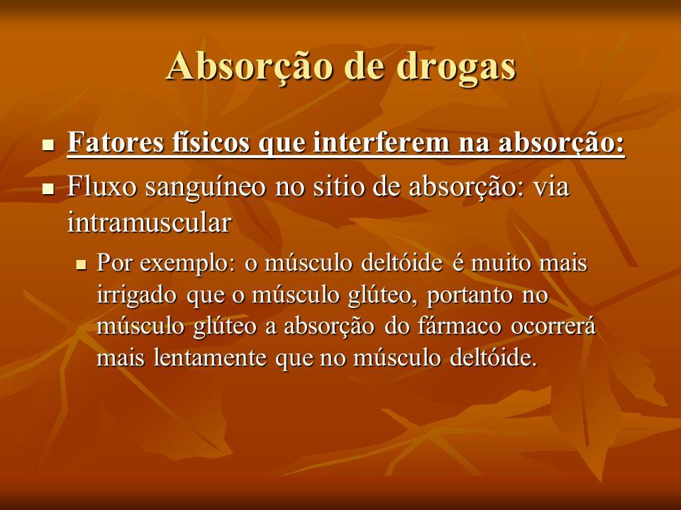 Absorção de drogas Fatores físicos que interferem na absorção: