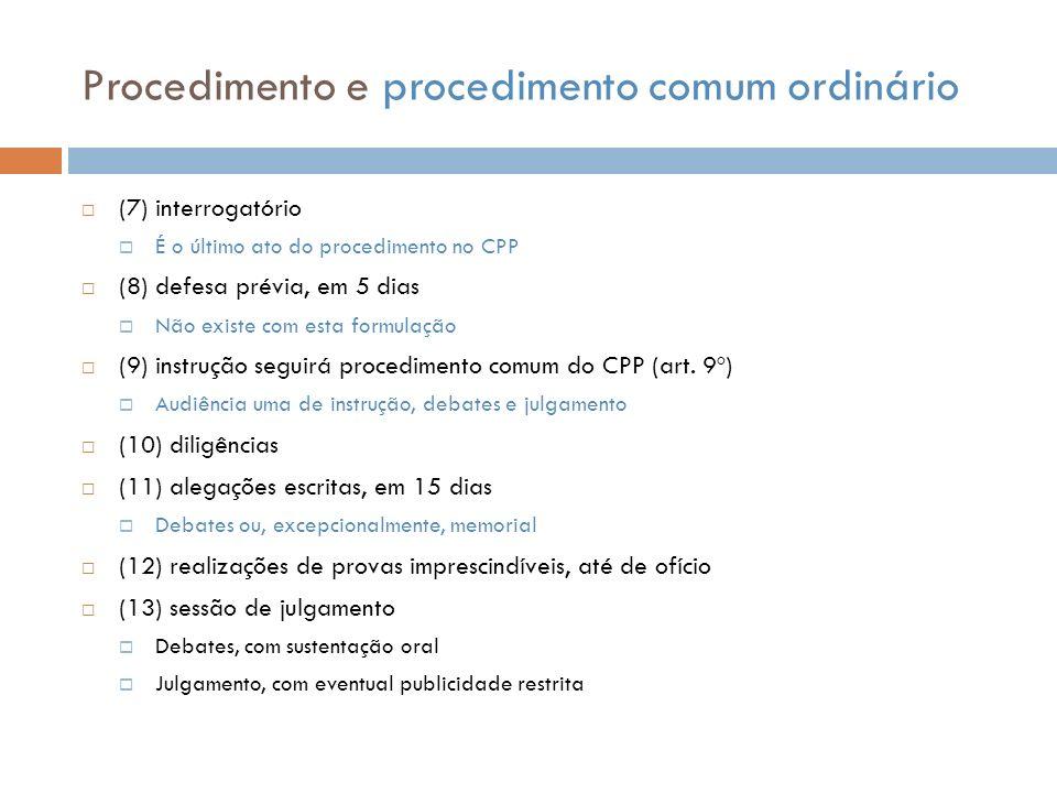 Procedimento e procedimento comum ordinário