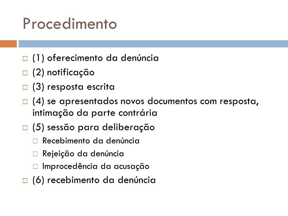 Procedimento (1) oferecimento da denúncia (2) notificação