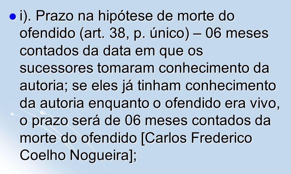i). Prazo na hipótese de morte do ofendido (art. 38, p