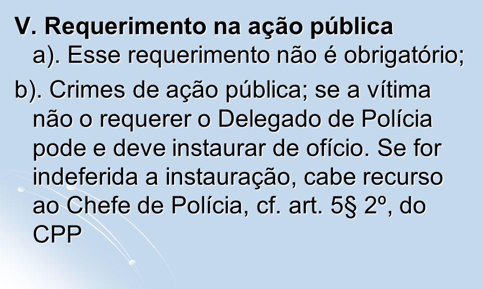 V. Requerimento na ação pública a)