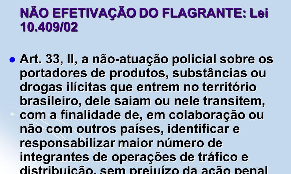 NÃO EFETIVAÇÃO DO FLAGRANTE: Lei 10.409/02