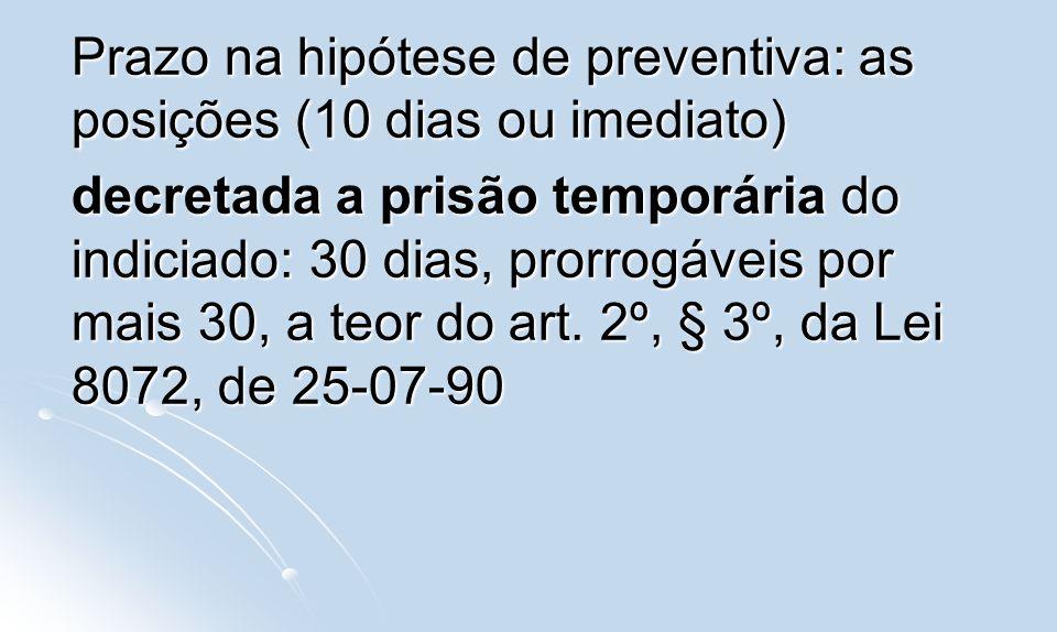Prazo na hipótese de preventiva: as posições (10 dias ou imediato)