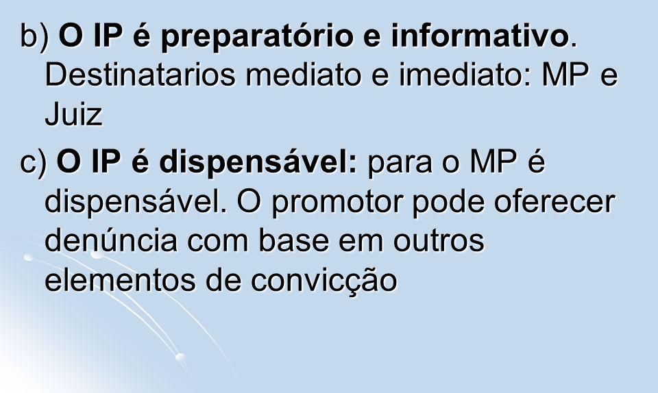 b) O IP é preparatório e informativo