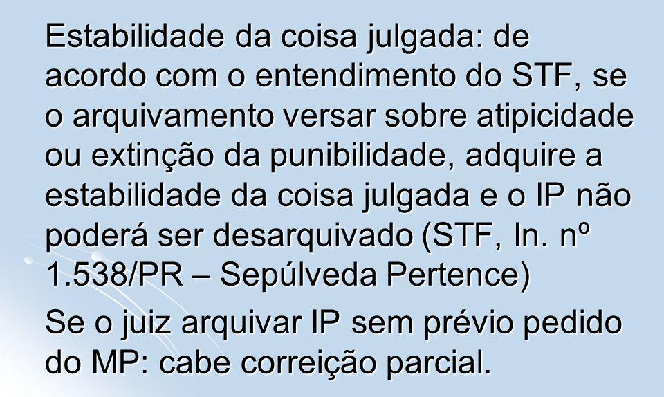 Se o juiz arquivar IP sem prévio pedido do MP: cabe correição parcial.